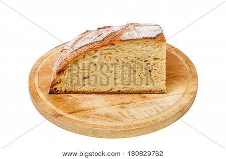 Bread on wooden cutting board isolated on white background