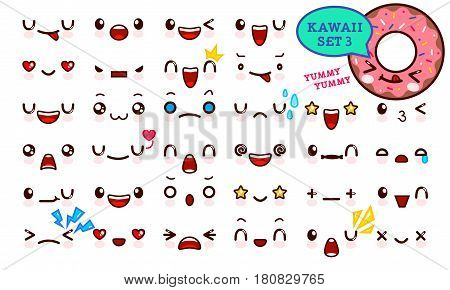 Set of cute kawaii emoticon face and sweet donut kawaii. Collection emoticon manga cartoon style. Vector illustration. Adorable characters icons design
