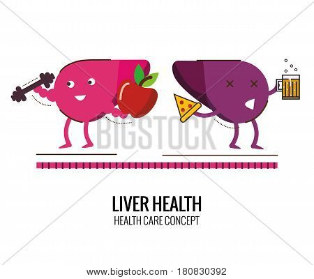 healthy liver and unhealthy liver character. Danger of Alcoholic and Cholesterol. Character thin line flat design. vector illustration