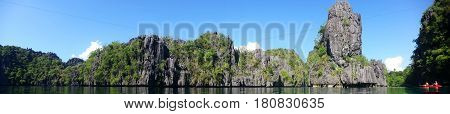 Panoramic view of the Cliffs of El Nido Palawan