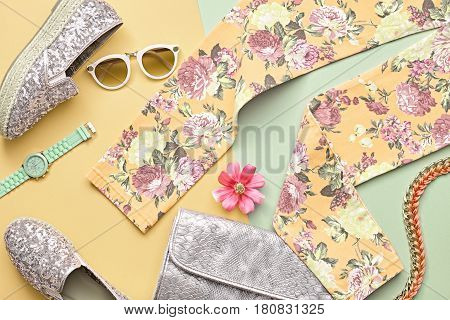 Fashion Woman Clothes Accessories Set. Summer Lady. Urban Outfit. Trendy Hipster Floral Leggings, fashion Sunglasses, Stylish Handbag Clutch. Glamor Silver fashion hipster shoes. Design. Art Minimal