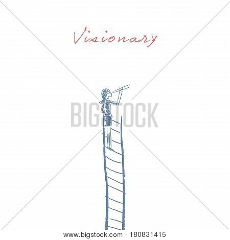 Businesswoman standing on top of corporate ladder vector illustration as a symbol of business career, visionary, ambitions. Hand drawn sketch design. Eps10 vector illustration.