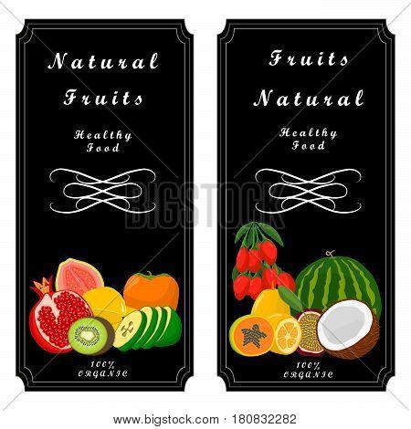 Vector illustration logo fruit:melon strawberries kiwi watermelon persimmon pomegranate coconut strawberry passion fruit goji berry guava cranberry gooseberry papaya mango.