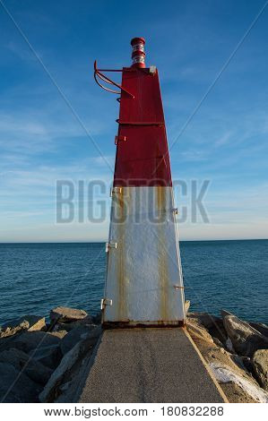 marine beacon in the bay of Roses Costa Brava Catalonia Spain