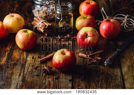 Red Apples with Different Spices for Cooking Apple Grog.