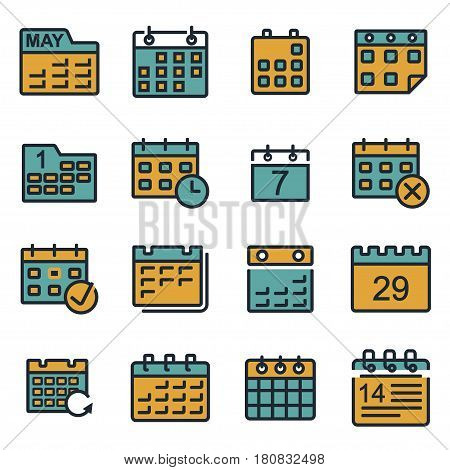 Vector flat calendar icons set on white background