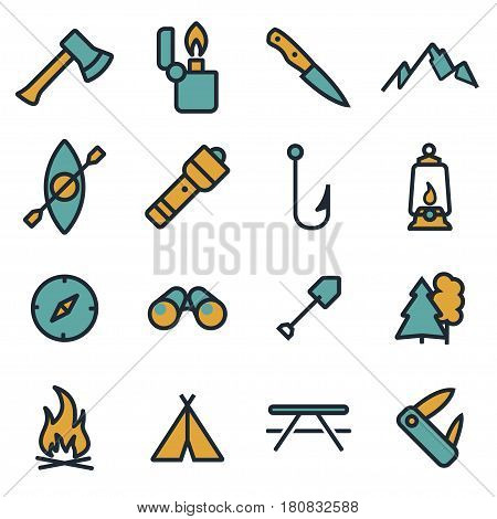 Vector flat camping icons set on white background