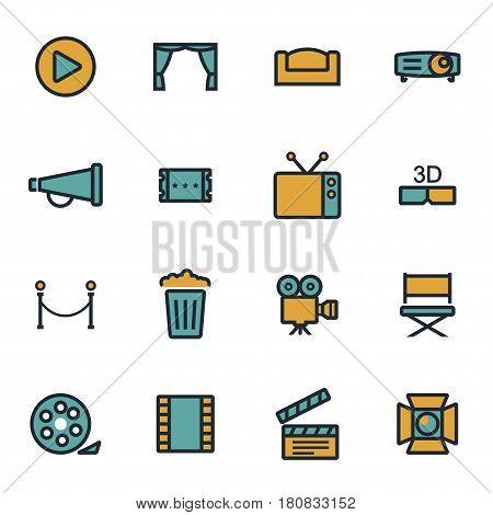 Vector flat cinema icons set on white background
