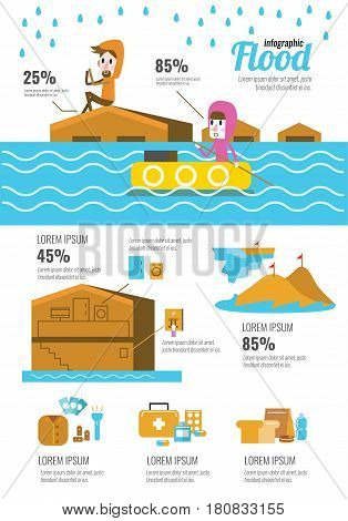 Flood disaster infographic. flat character and icons design elements. vector illustration