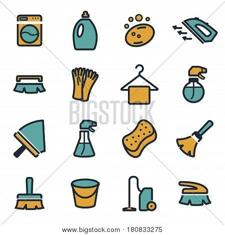 Vector flat cleaning icons set on white background
