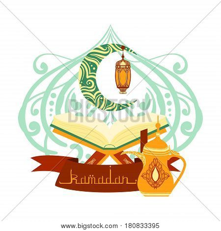 Holy book of Quran with lamp, ramadan greeting card. Colorful vector illustration isolated on a white background. Template for invitation, poster, banner, menu, card for the celebration of Muslim community festival