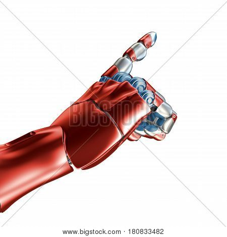 Futuristic design concept of a robotic mechanical arm . Cybernetic organism with Artificial Intelligence working with virtual world. 3d rendering. Template Isolated on white background.