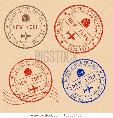 New York mail stamps collection. Faded colored impress. Vector illustration on beige background