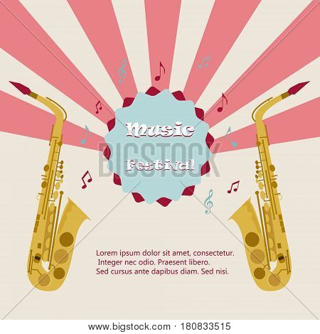 Jazz music festival, poster background template. Saxophone with music notes. Flyer design.