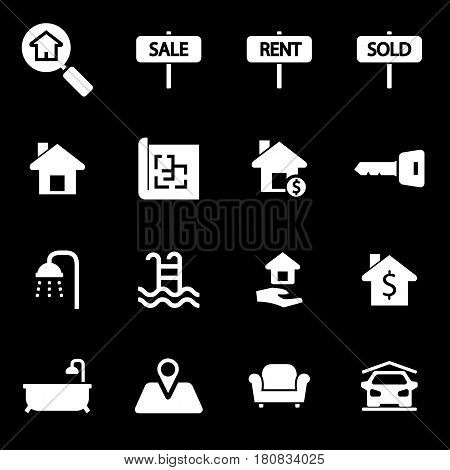 Vector white real estate icons set on black background