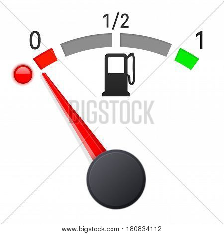Fuel gauge scale. Empty tank. Vector 3d illustration