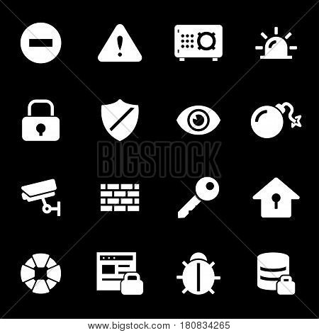 Vector white security icons set on black background