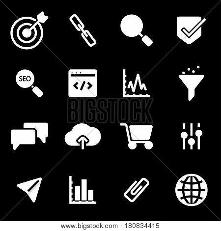 Vector white seo icons set on black background