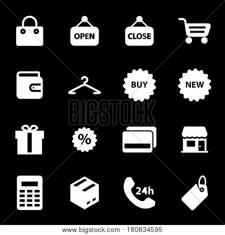 Vector white shop icons set on black background
