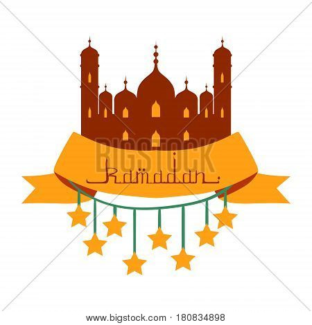 Ramadan Kareem greeting card with arabic calligraphy and stars. Colorful vector illustration isolated on a white background. Template for invitation, poster, banner, menu, card for the celebration of Muslim community festival