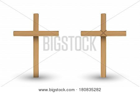 real wooden cross on a with background