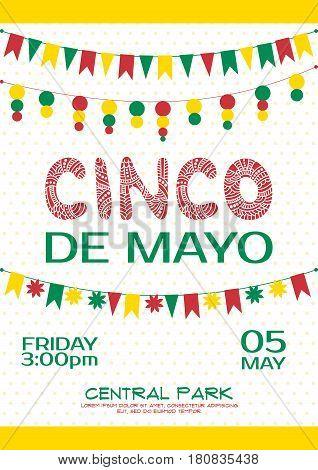Cinco de mayo invitation poster. Mexican party event