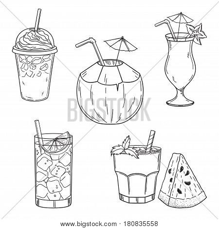 Set of hand drawn summer drinks. Iced coffee, coconut, lime water, cocktail and watermelon juice