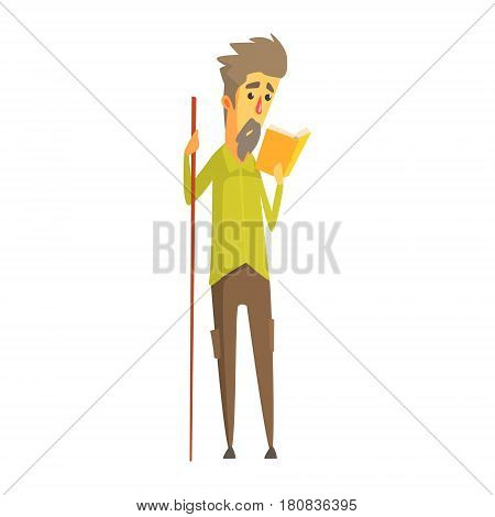 Bearded man holding a long wooden pointer and reading a book. Education, study and literature. Colorful cartoon character isolated on a white background