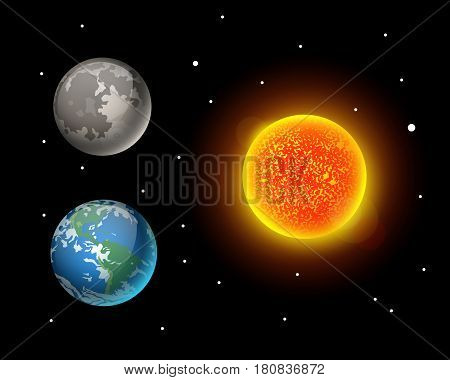 High quality sun planet galaxy astronomy and earth universe moon science globe cosmos orbit star vector illustration. Astrology planetary world exploration journey scientific surface.