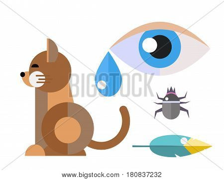Allergy cat symbols disease healthcare viruses and health flat label people eye with illness allergen symptoms disease information vector illustration. Human treatment cough not healthy sign.
