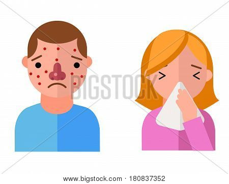 Allergy symbols disease healthcare characters viruses and health flat label people with illness allergen symptoms disease information vector illustration. Human treatment cough not healthy sign.