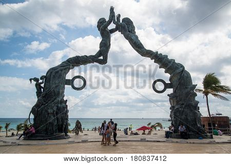PLAYA DEL CARMEN, MEXICO - Circa february 2017 - Portal Maya monument as a window to the Caribbean sea in Cancun, Mexico