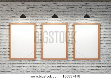 White Board On Brick Wall With Ceiling Lamp