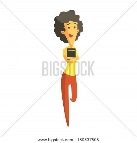 Smiling brunette girl standing and holding a book in her hands. Education, study and literature. Colorful cartoon character isolated on a white background