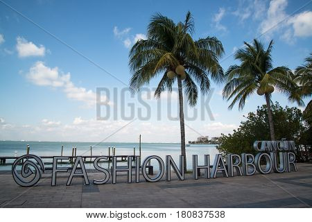 Cancun, Mexico, circa february 2017: Fashion Harbour sign. La Isla Fashion Harbour is a luxury shopping mall in Cancun, Mexico