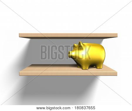 Wooden Shelves On Wall With Piggy Bank, 3D Illustration