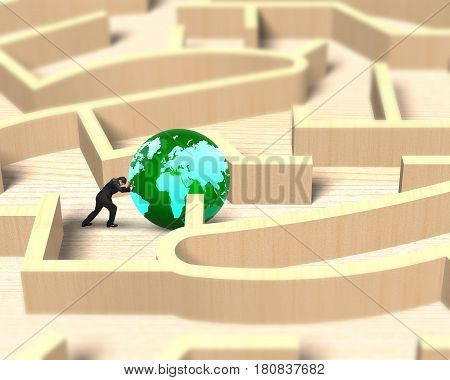 Man pushing green globe in the wooden maze game.