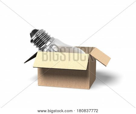 Light Bulb In Opened Cardboard Box, 3D Illustration