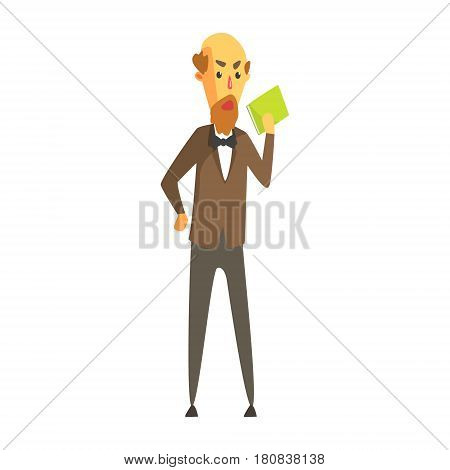 Bald bearded man in a jacket and bow tie standing with book in his hand. Education, teaching, literature. Colorful cartoon character isolated on a white background