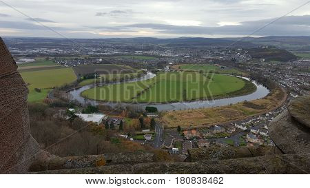 Panorama of the área surrunding the Wallace Monument in Stirling