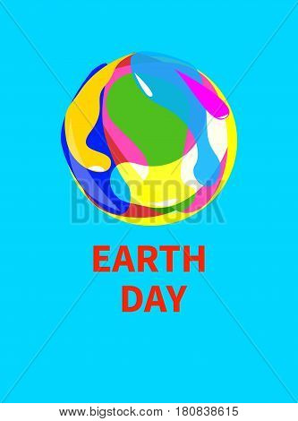 Logo icon earth day. Card banner with round colorful painted planet. Vector illustration.