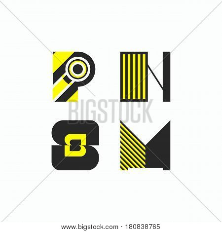 Striped logo icon. Lettering letters p n s m. Geometric elements of logos. Vector illustration.