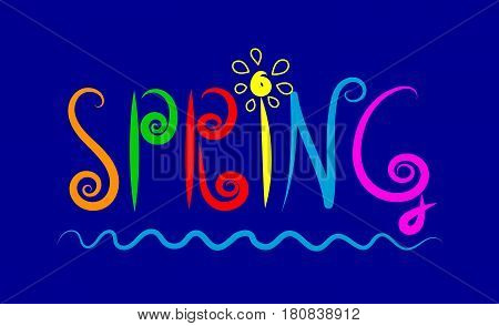 Decorative hand drawn cartoon word spring. Lettering with colorful letters. Vector illustration.