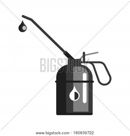 Spout oiler can applicator, used for fill lubricant oil into the rotate point of machine. Oil industry equipment, flat vector illustration isolated on a white background