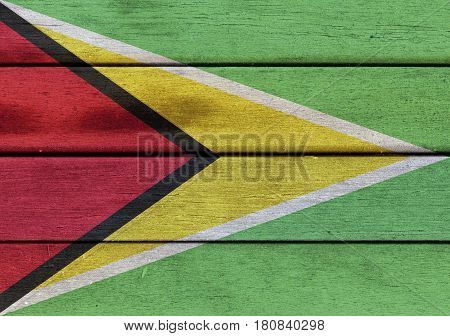 Republic Of Guyana Flag On A Wood
