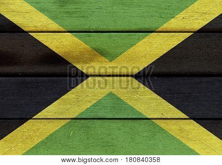 Jamaica Flag On A Wood