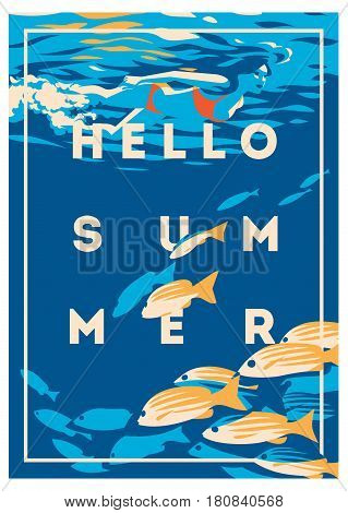 Summer Holiday and Summer Camp poster. Traveling template poster, badge, vector illustration. Party poster with lettering.