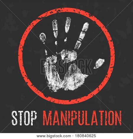 Conceptual vector illustration. Social problems. Stop manipulation.