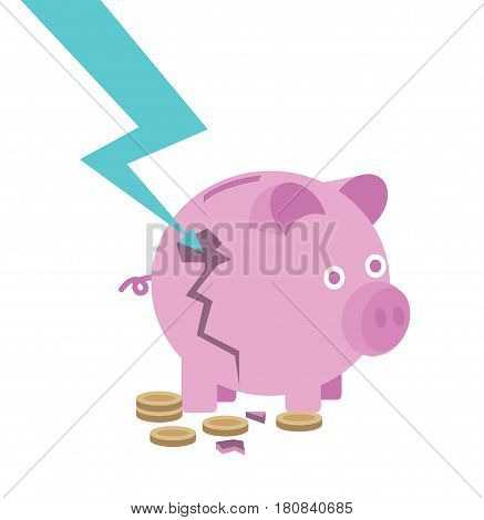Broken piggy bank. destroy by down arrow. risk of investment concept. flat line icon design vector illustration