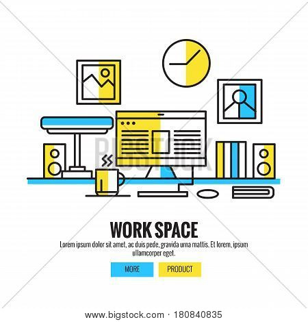 Working Space for Designers Photographers and Typographers with computer, poster, watch, book,speaker and coffee cup. flat line design vector illustration